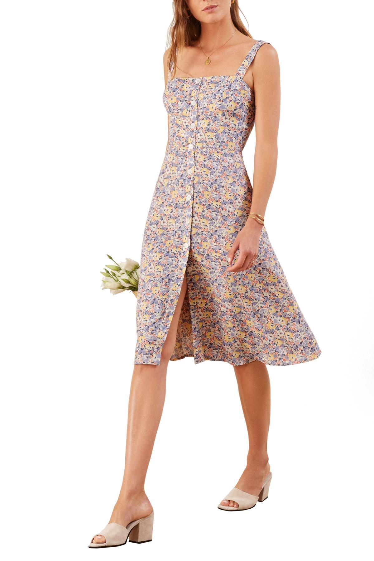 9b7e8035374 Lyst - Reformation Persimmon Midi A-line Dress