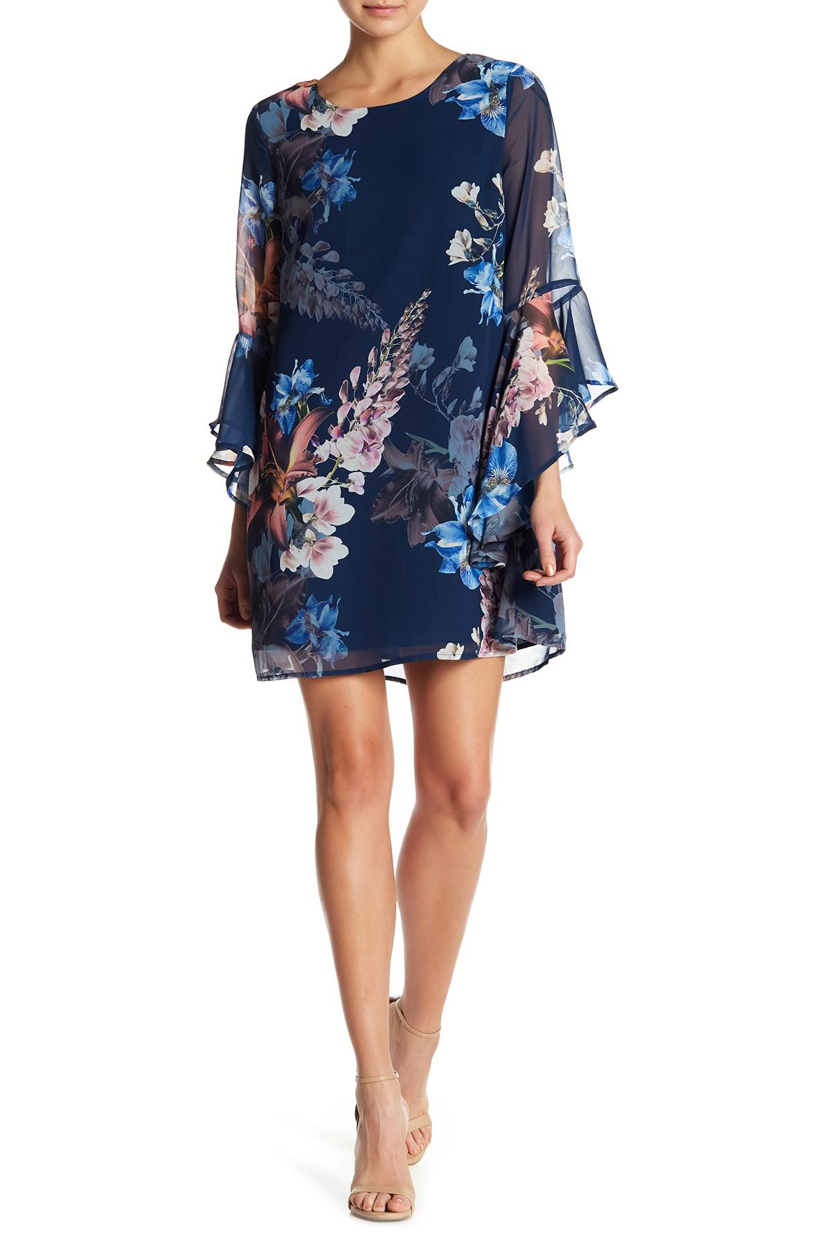 06c38bc540e Lyst - Cece by Cynthia Steffe Ashley Bell Sleeve Print Dress in Blue