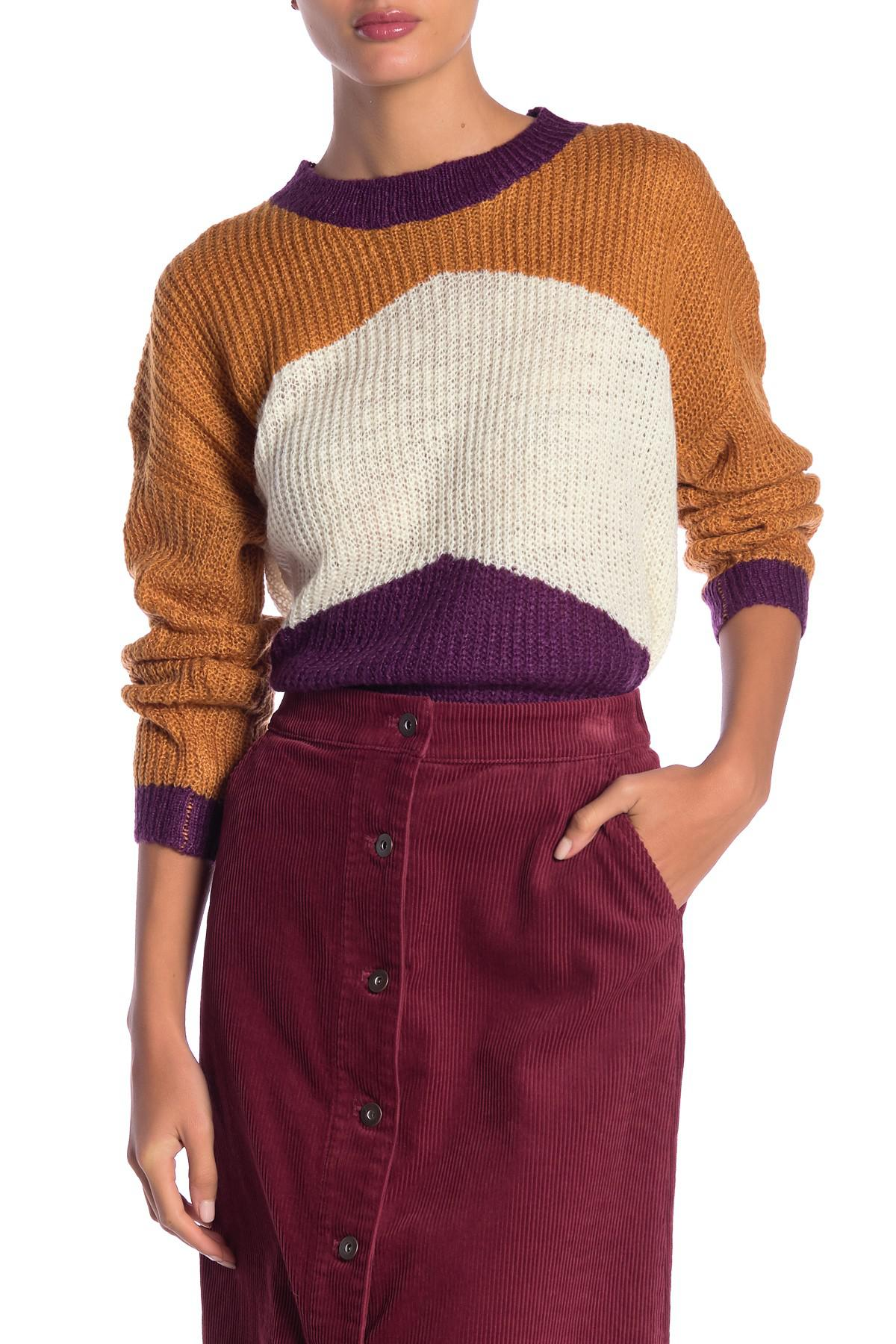 ced591cdc8 Lyst - Dreamers By Debut Colorblock Knit Sweater in Purple