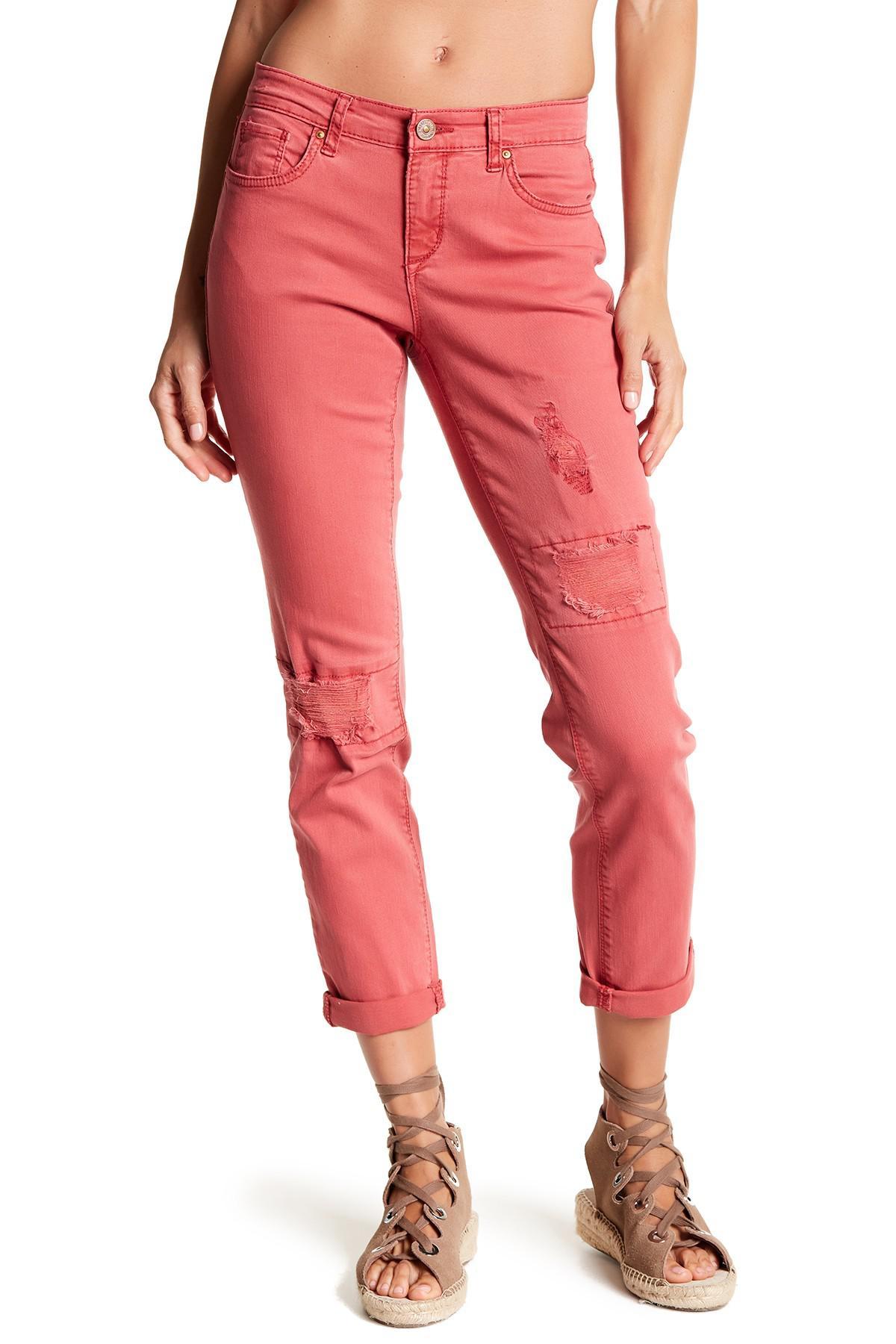 Red vintage jeans