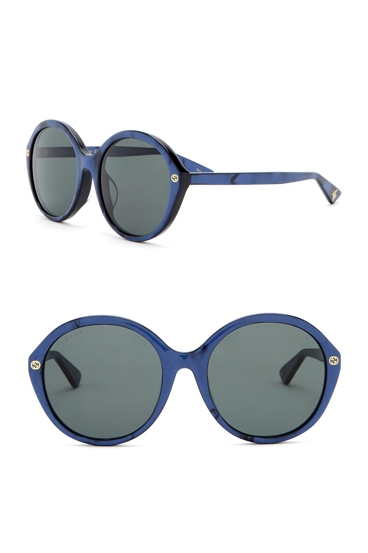 07d07a65154 Lyst - Gucci 57mm Round Sunglasses in Blue