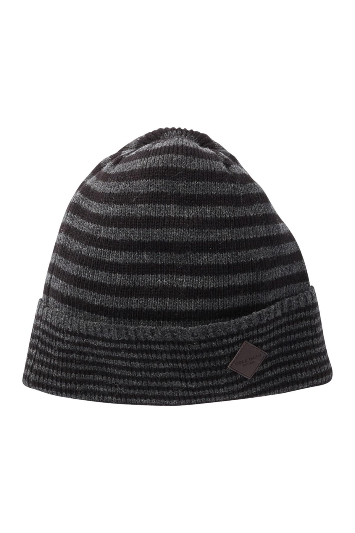 7bbd22f7aa7 Lyst - Cole Haan Double Stripe Cuff Beanie in Black for Men