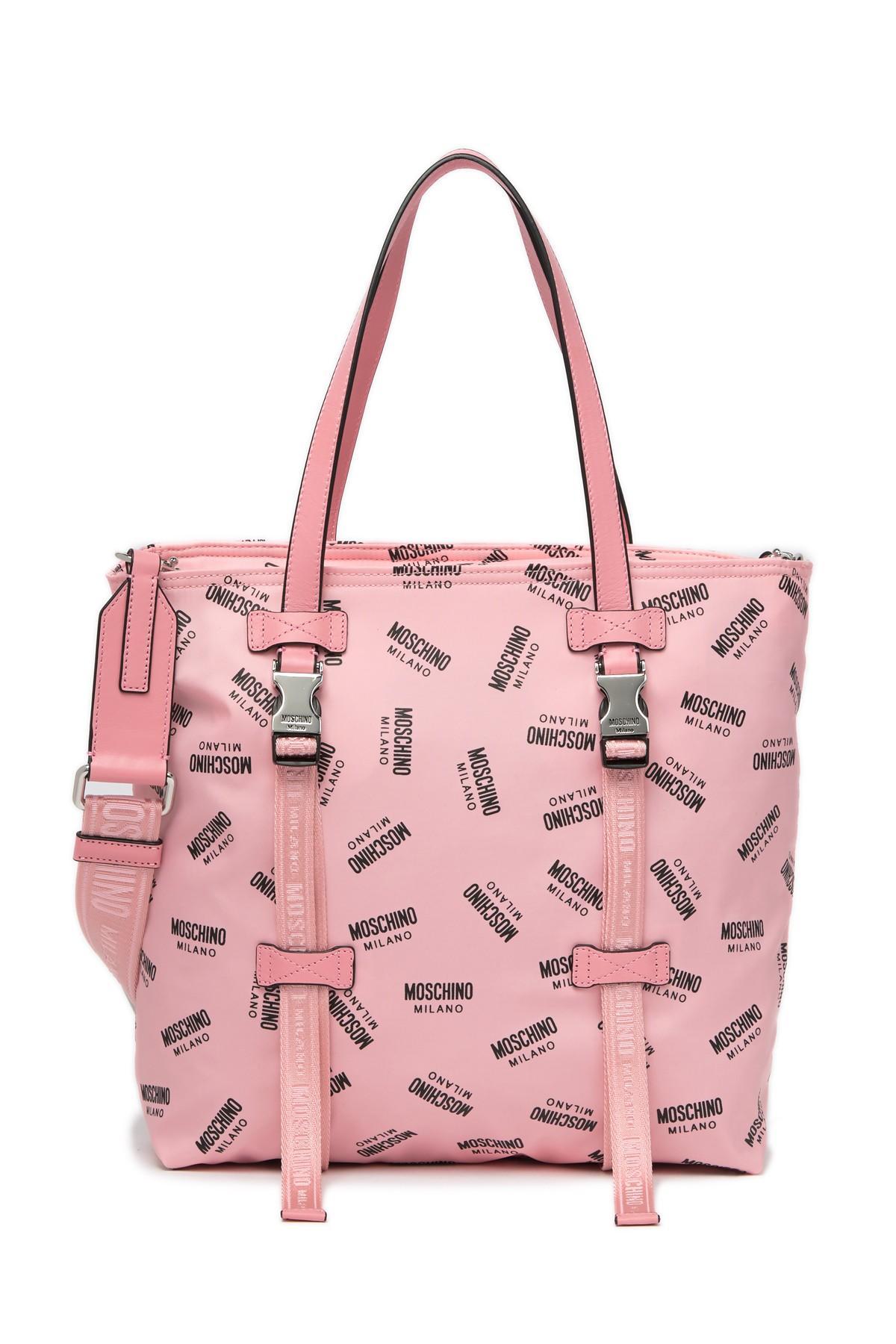 c4b31a0c86315 Moschino - Pink Nylon Logo Tote Bag - Lyst. View fullscreen