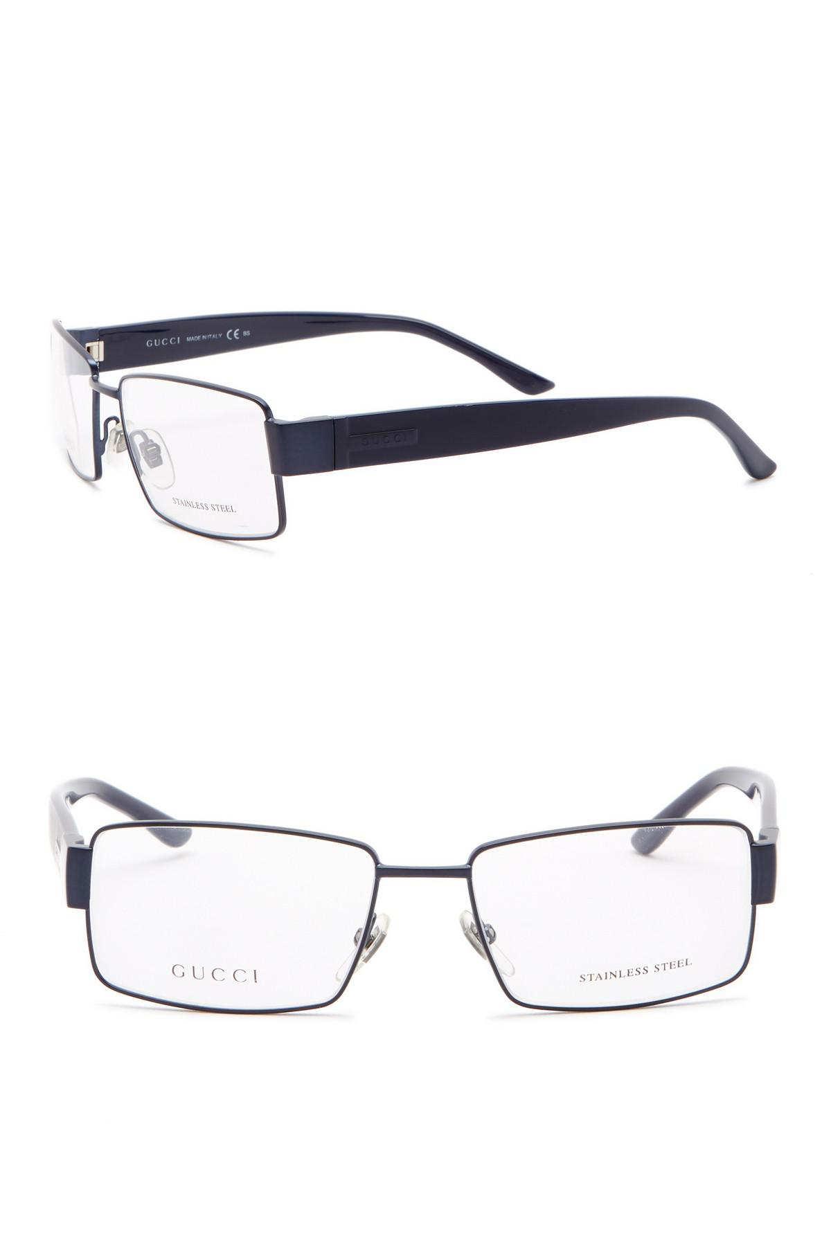 216b1690bb Lyst - Gucci 53mm Rectangle Optical Frames in Blue