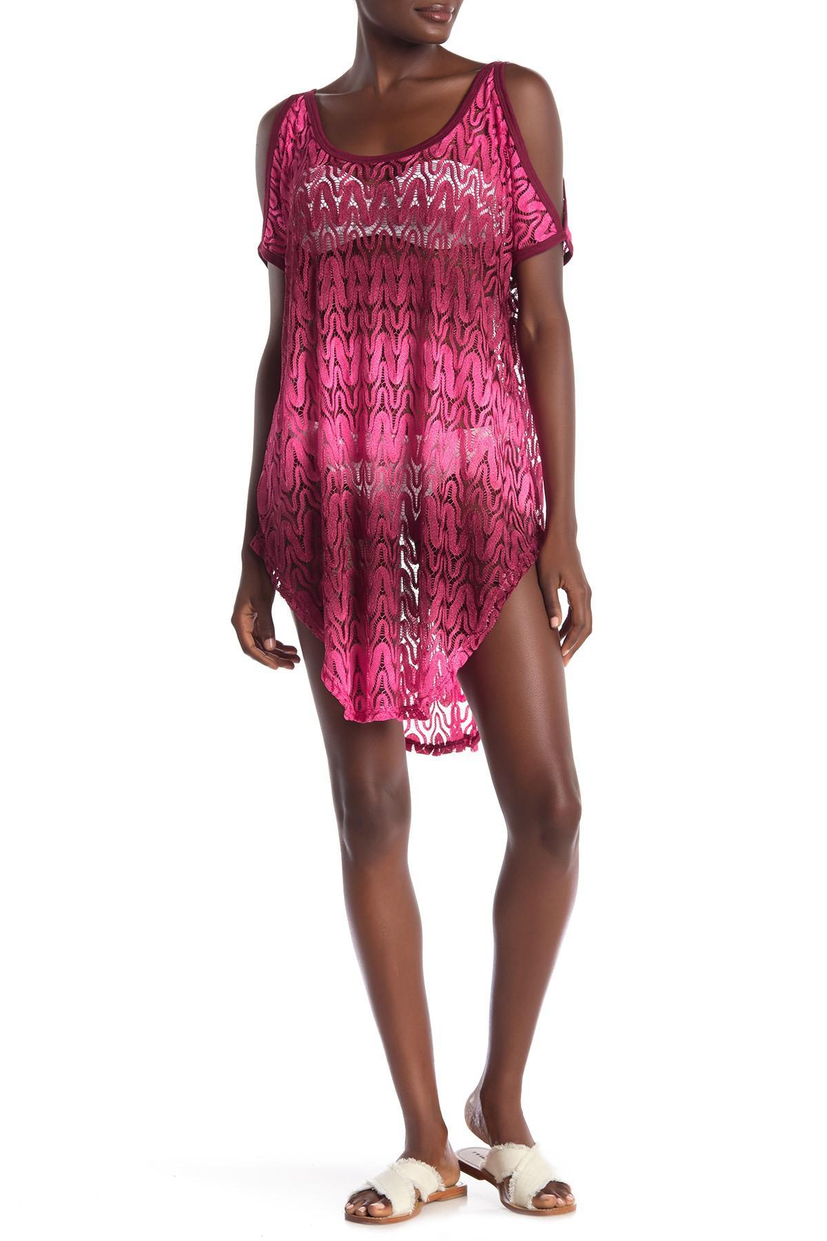 246179cb79069 Jordan Taylor. Women s Ombre Cold Shoulder Crochet Cover-up Tunic
