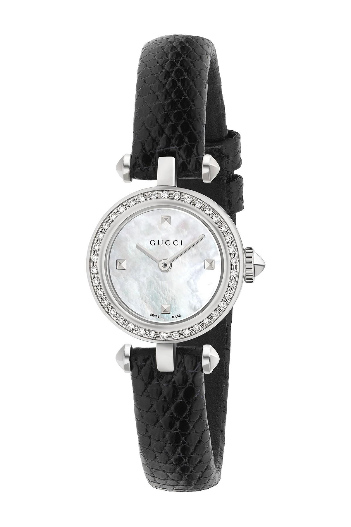 8adc6281596 Gucci - Metallic Women s 141 Diamond   Mother Of Pearl Embossed Leather  Strap Watch
