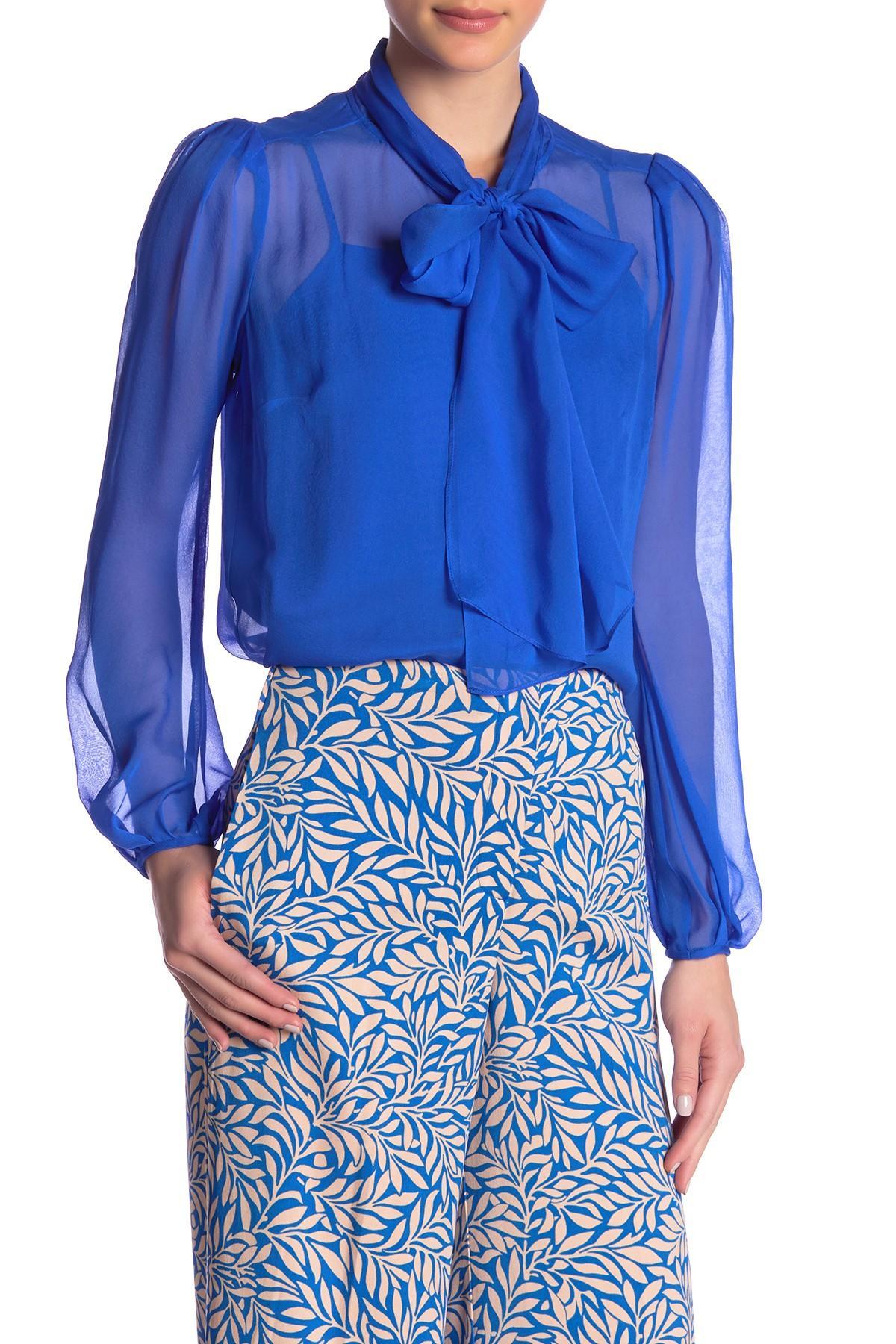 b7a18ba0702c93 Lyst - Diane Von Furstenberg Jezebel Silk Tie Neck Blouse in Blue