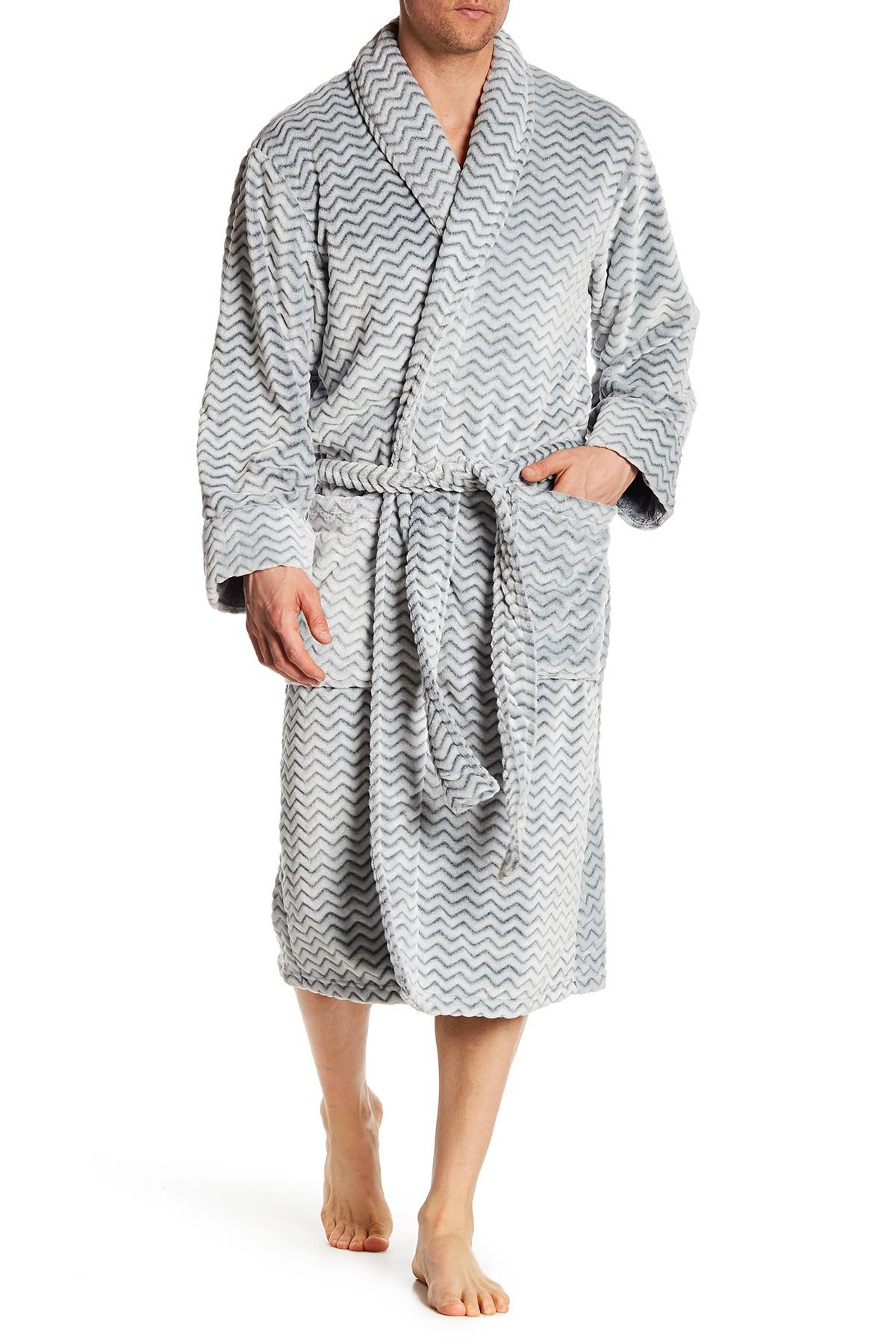 Lyst - Daniel Buchler Herringbone Plush Robe in Black for Men 2db8c643a