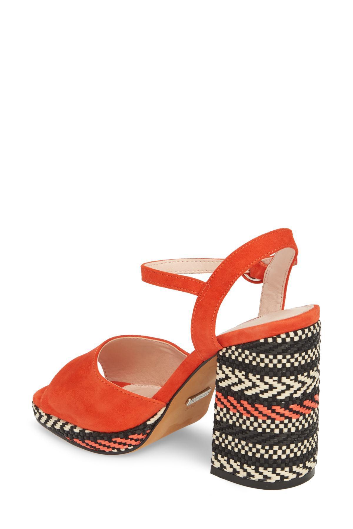 962d6d35924 Lyst - TOPSHOP Laura Woven Block Heel Sandal (women) in Red