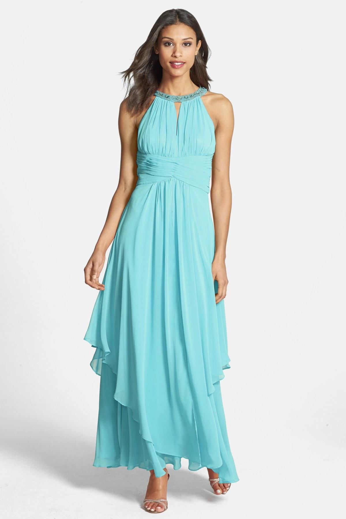 Lyst - Eliza J Embellished Tiered Chiffon Halter Gown in Blue