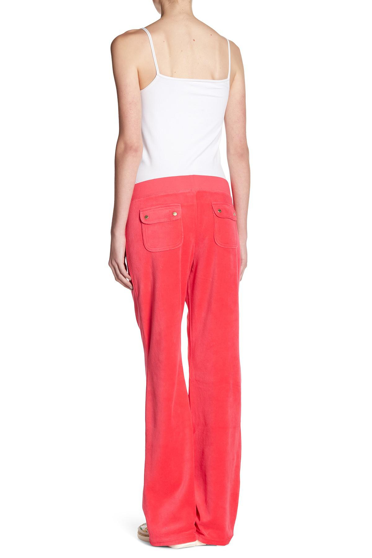 Juicy Couture Cotton Starburst Del Rey Velour Track Pants In Cerise Red Lyst