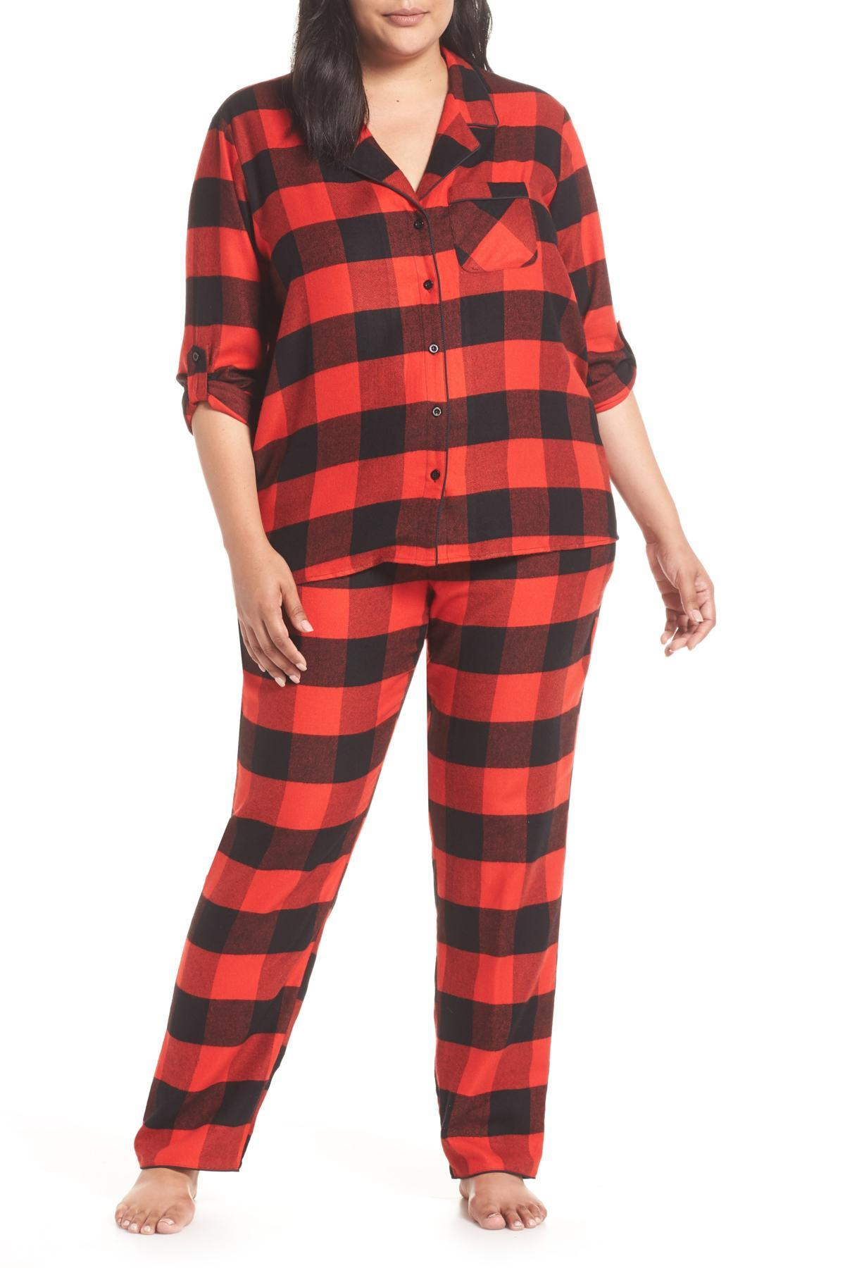 2b2859ca752ba Lyst - Nordstrom Starlight Plaid Flannel Pajamas (plus Size) in Red ...