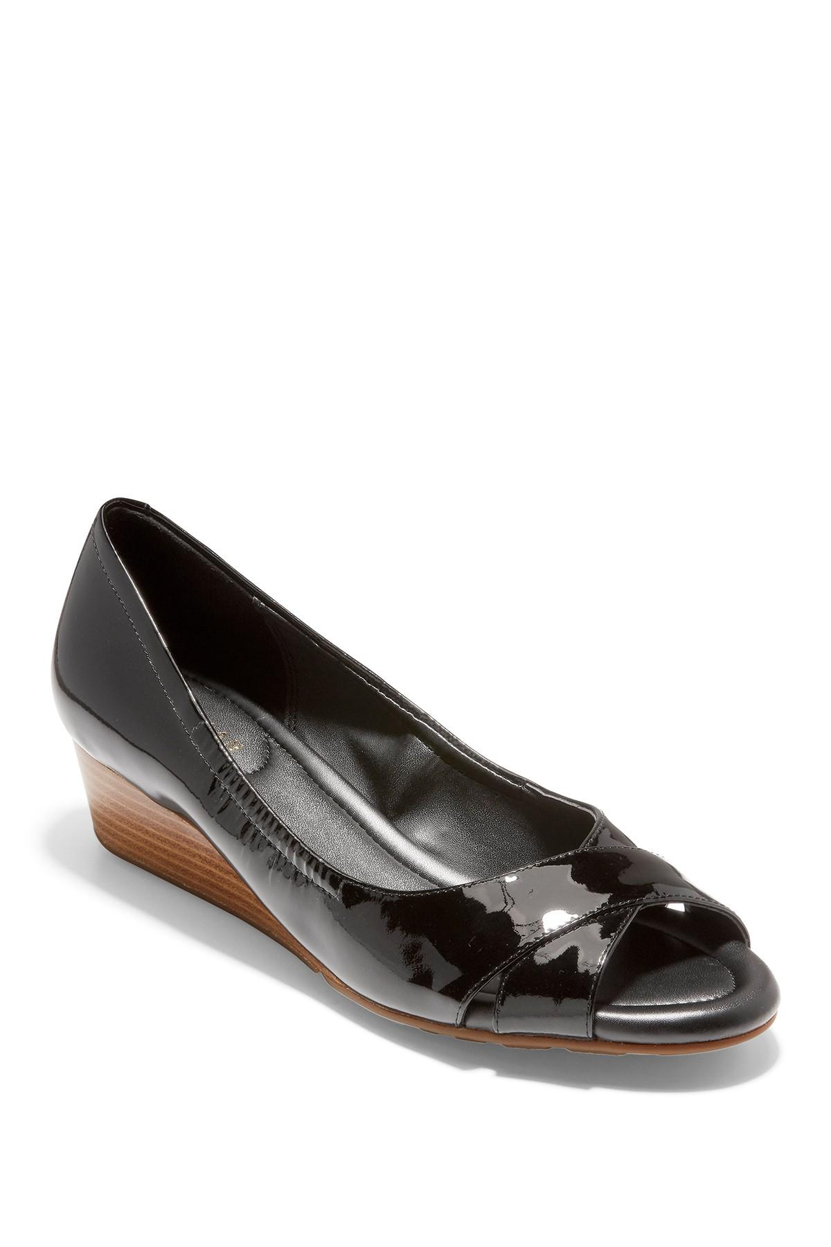 92b71a82ec Lyst - Cole Haan Melina Patent Open Toe Wedge in Black