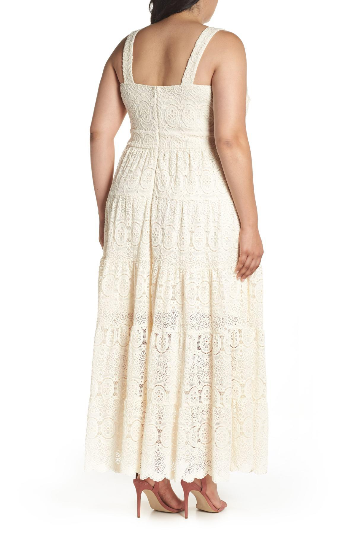 Eliza J Tiered Lace Maxi Dress Plus Size In White Lyst