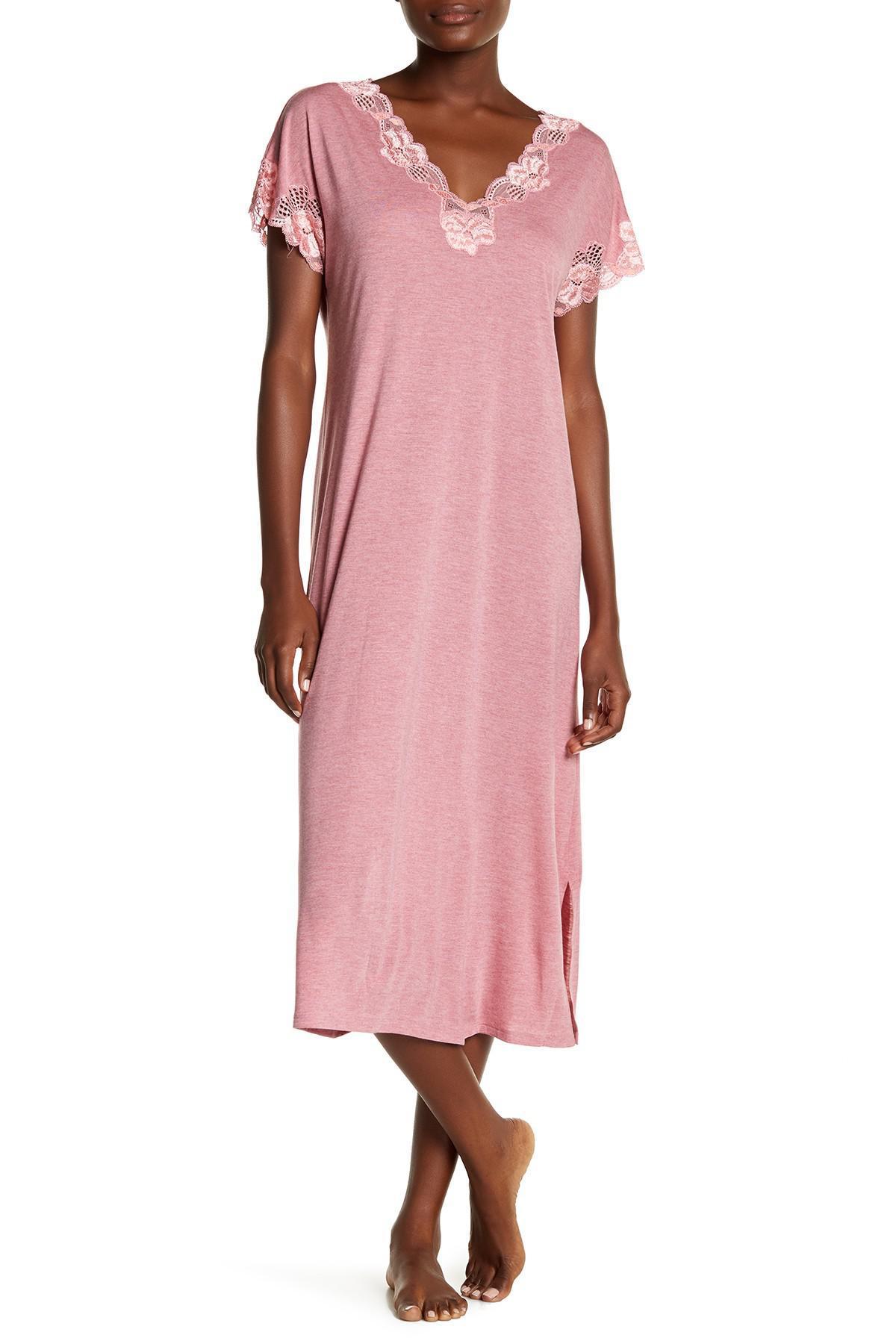 Lyst - Natori Zen Floral Lace Trim Sleep Gown in Pink
