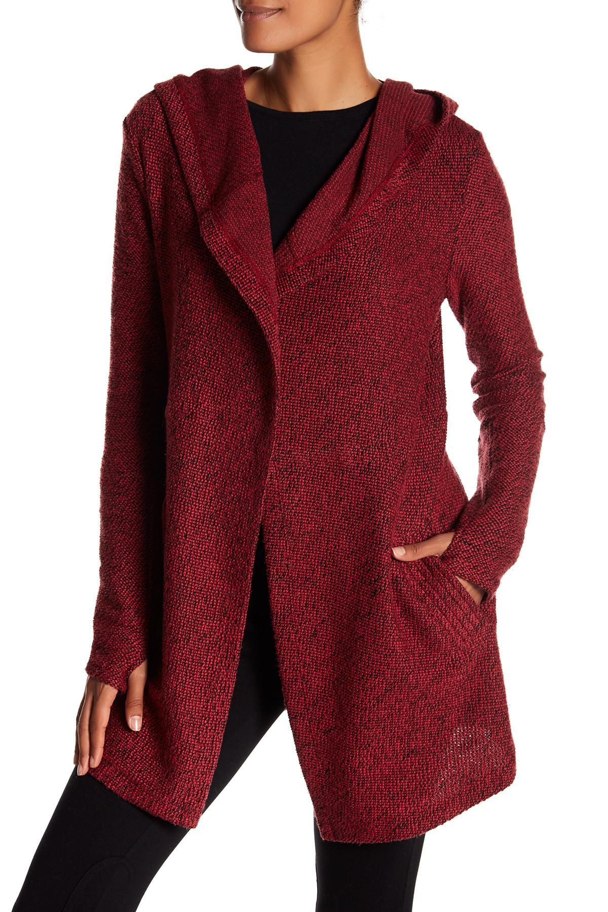 Blanc noir Hooded Tweed Drape Cardigan in Red | Lyst