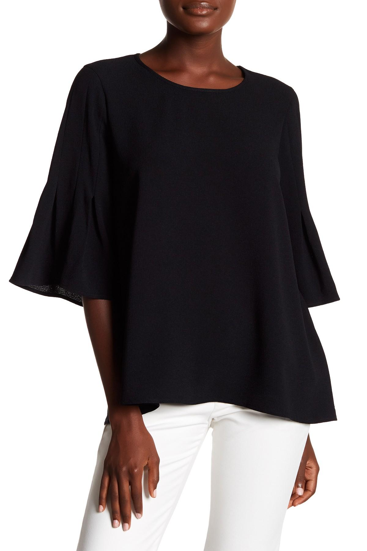 d5cf48c2756e82 Lyst - Pleione Pleated Bell Sleeve Blouse in Black
