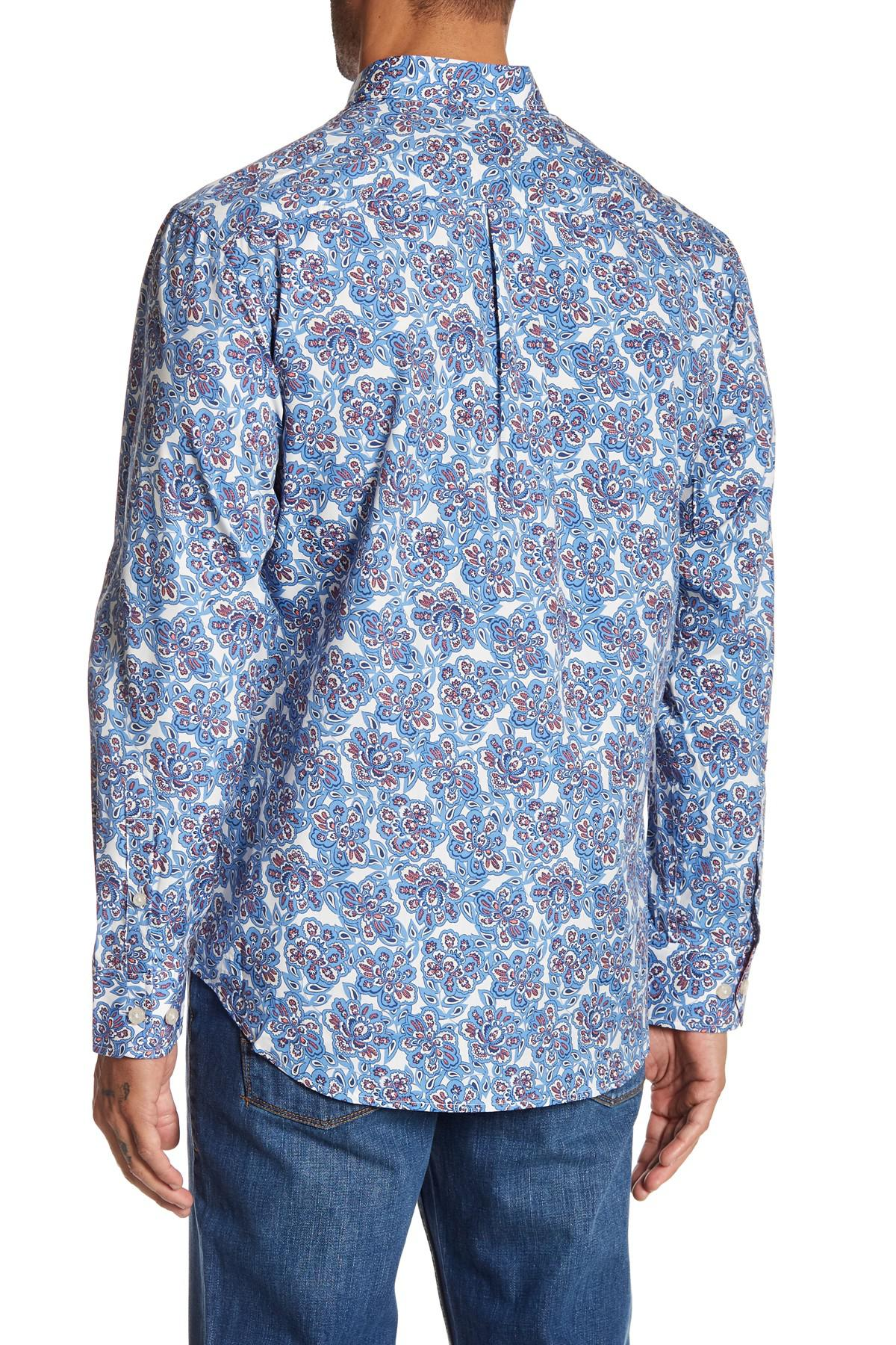 Lyst tommy bahama graphic printed long sleeve shirt in for Tommy bahama long sleeve dress shirts