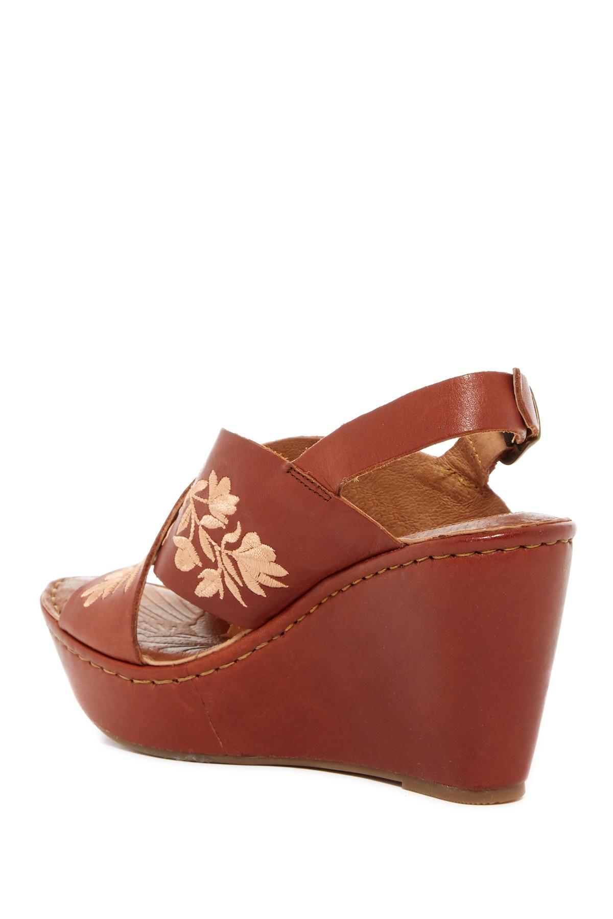 Born Emmy Embroidered Leather Wedge Sandal In Brown Lyst