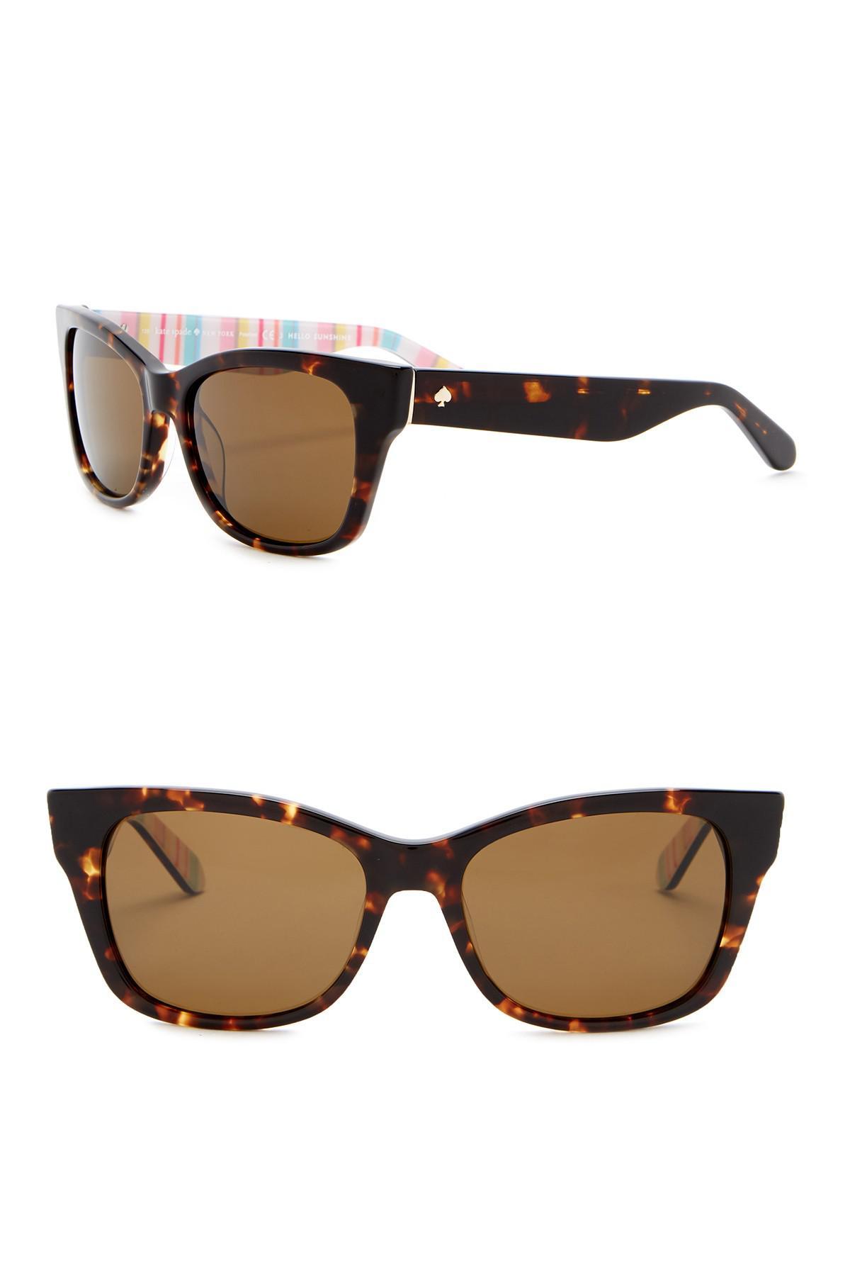 fd3ee315ed Lyst - Kate Spade Alora 53mm Cat Eye Sunglasses in Brown