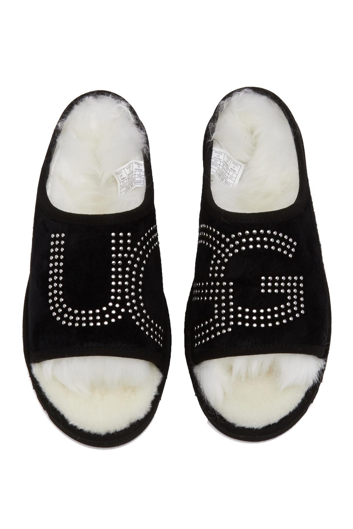 08eb05883cf Ugg Black Studded Toscana Sheepskin Lined Slide