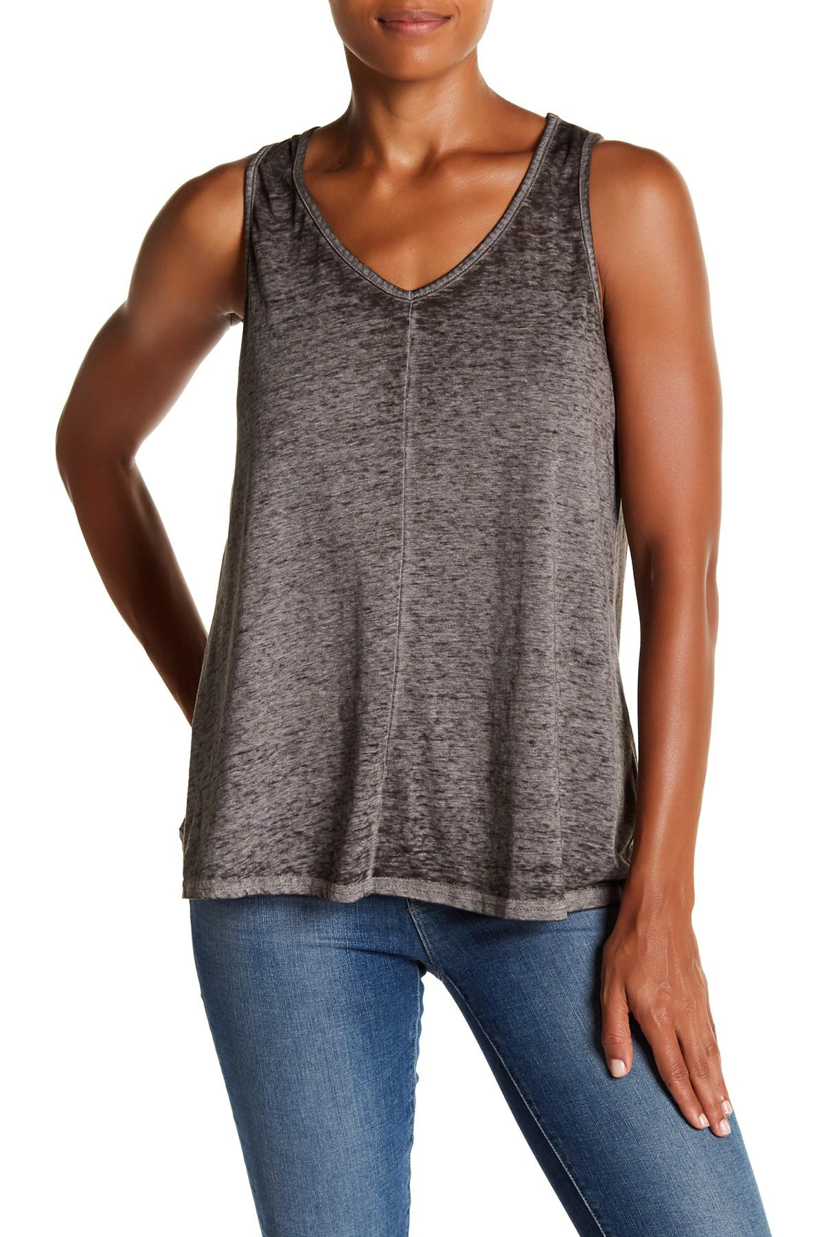 Cable Amp Gauge Lattice Back V Neck Tank In Gray Lyst