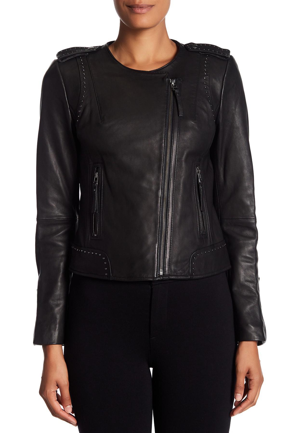 Lyst Joie Margolin Studded Genuine Leather Jacket In Black