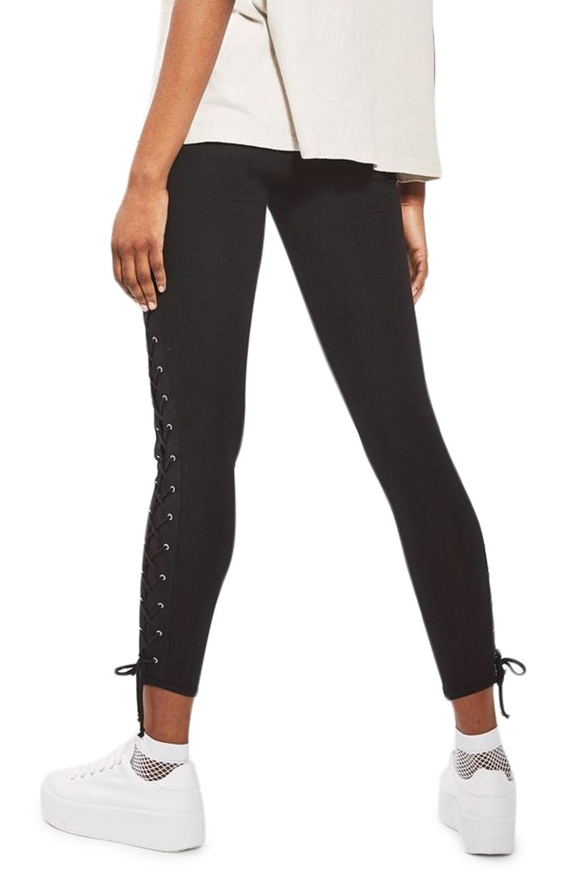 48bee1b2da5bc8 Lyst - TOPSHOP Lace-up Leggings in Black
