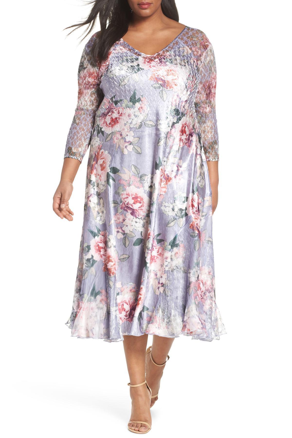 Komarov Multicolor Charmeuse A-line Dress (plus Size)