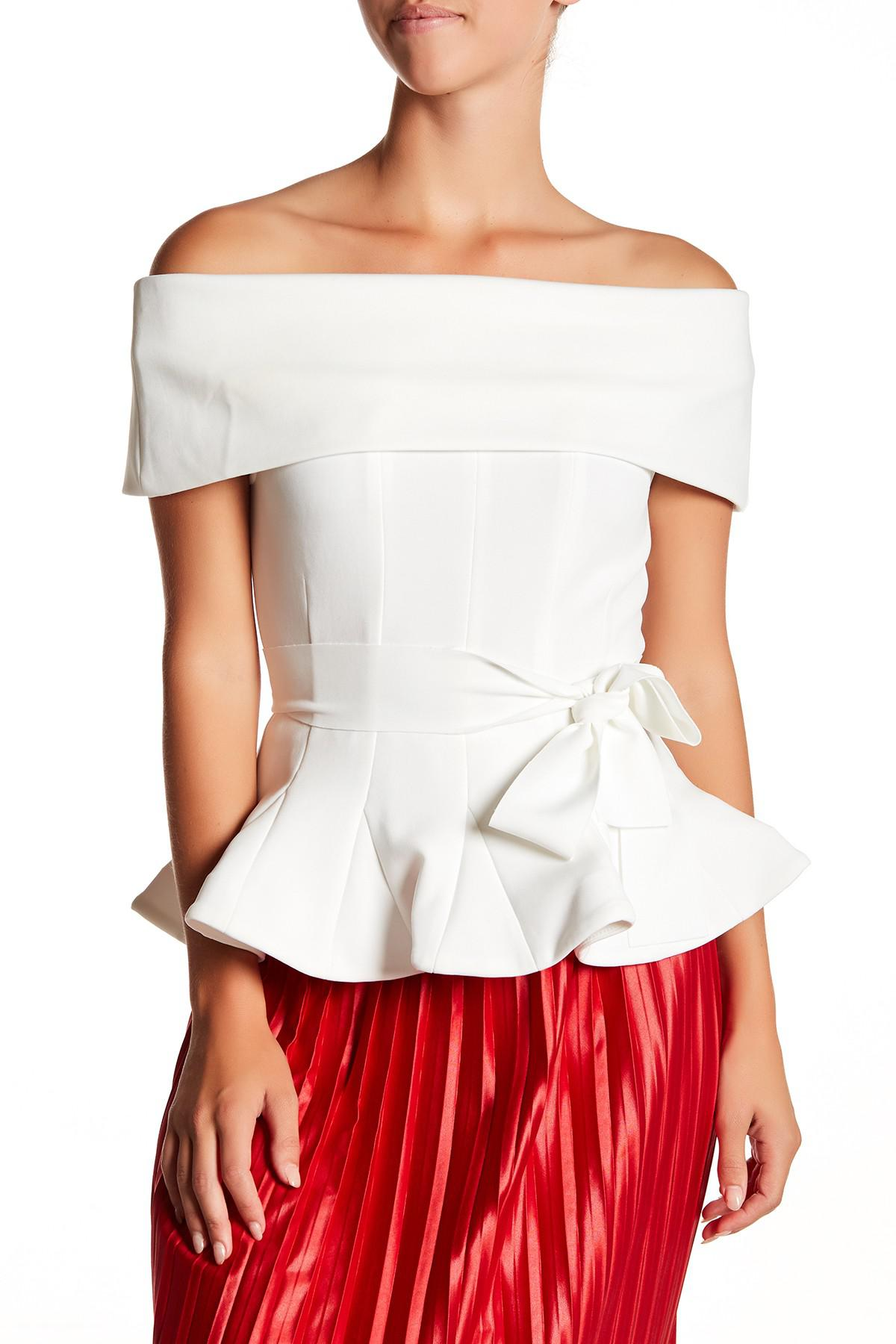 white off the shoulder peplum top