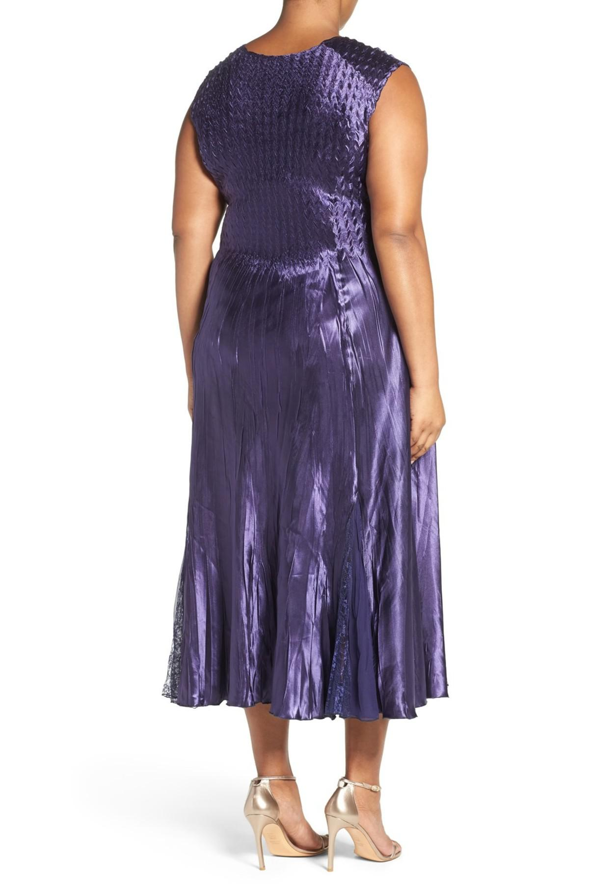 f535b6277d1 Lyst - Komarov Sleeveless Charmeuse Dress With Lace   Chiffon Jacket ...
