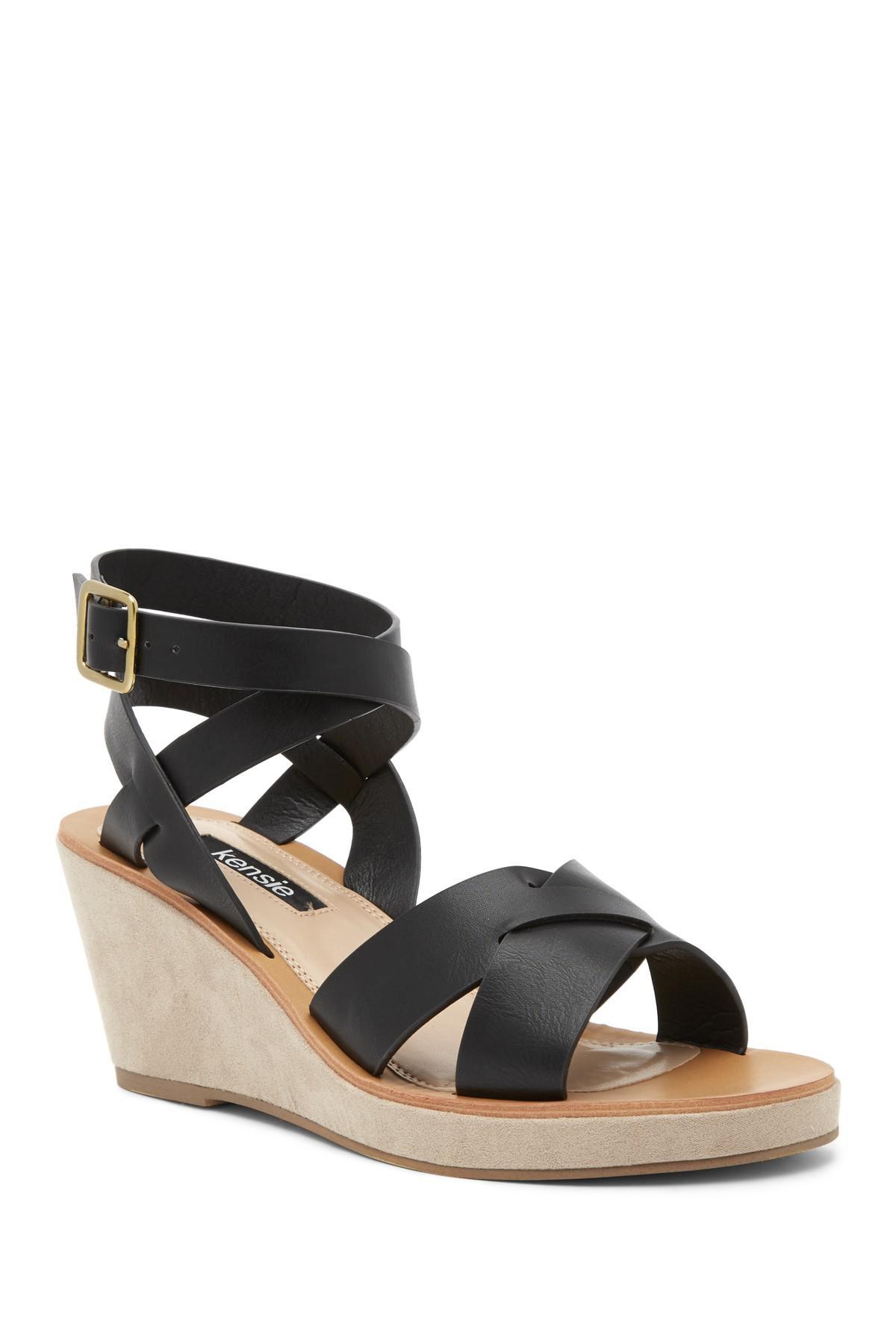 Kensie Venezia Leather Wedge Sandal TQsnprU