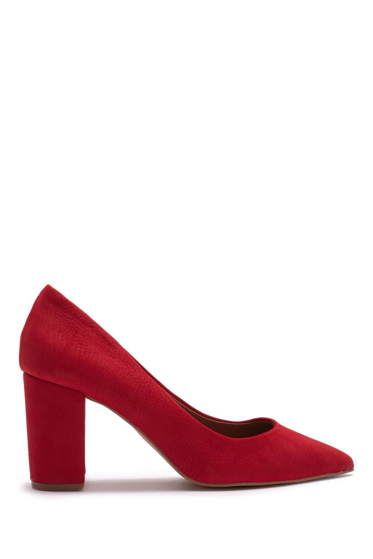 ce0c88cdd67 Lyst - Steve Madden Ashlyn Nubuck Leather Block Heel Pump in Red