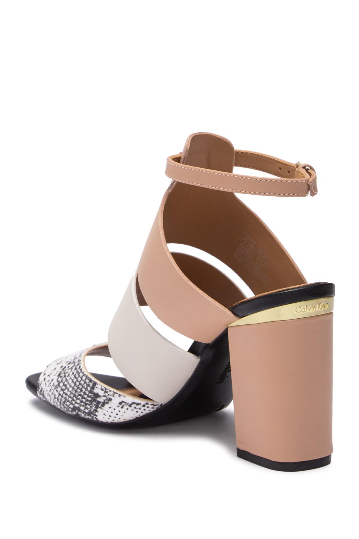 fe13568e27c Lyst - Calvin Klein Caran Mamba Block Heel Sandal