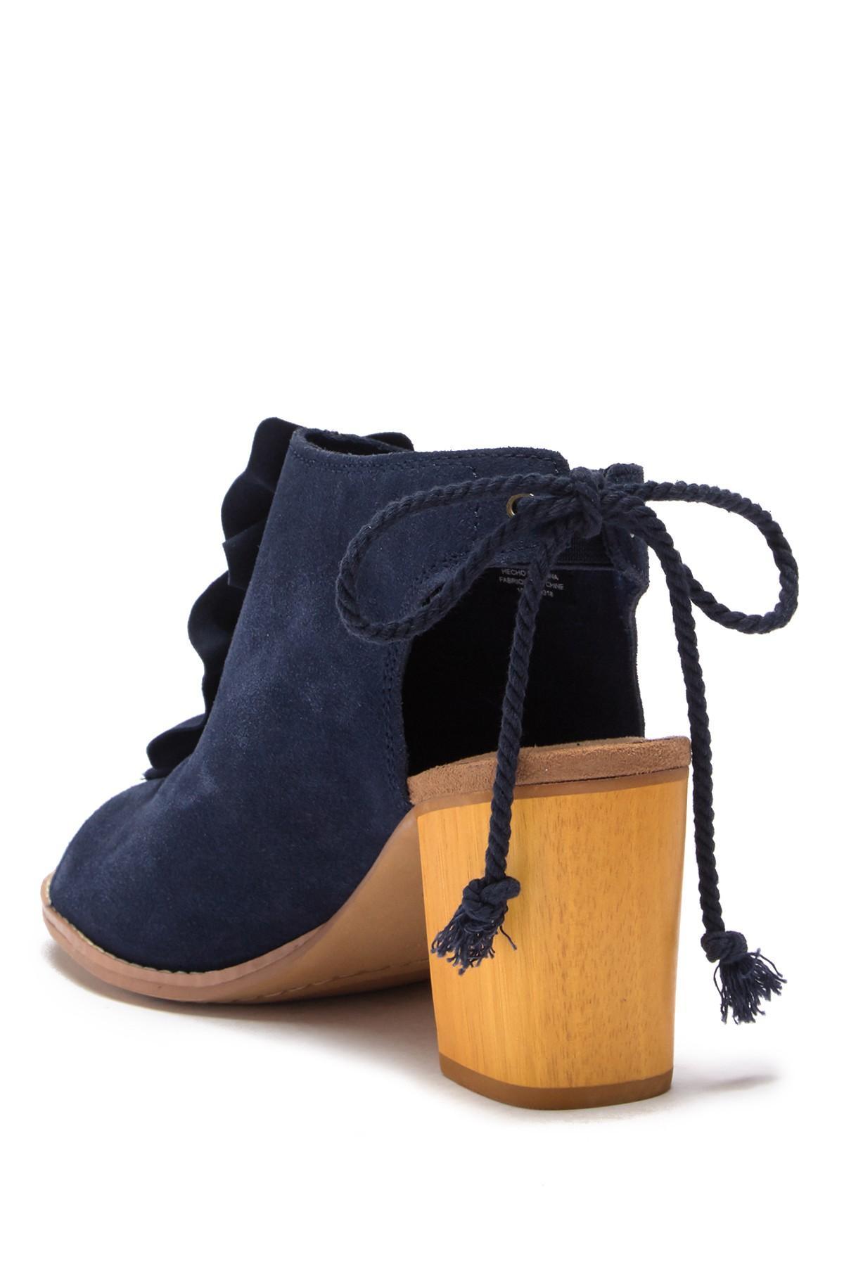 35c1cc028af TOMS - Blue Elba Peep Toe Block Heel Bootie - Lyst. View fullscreen