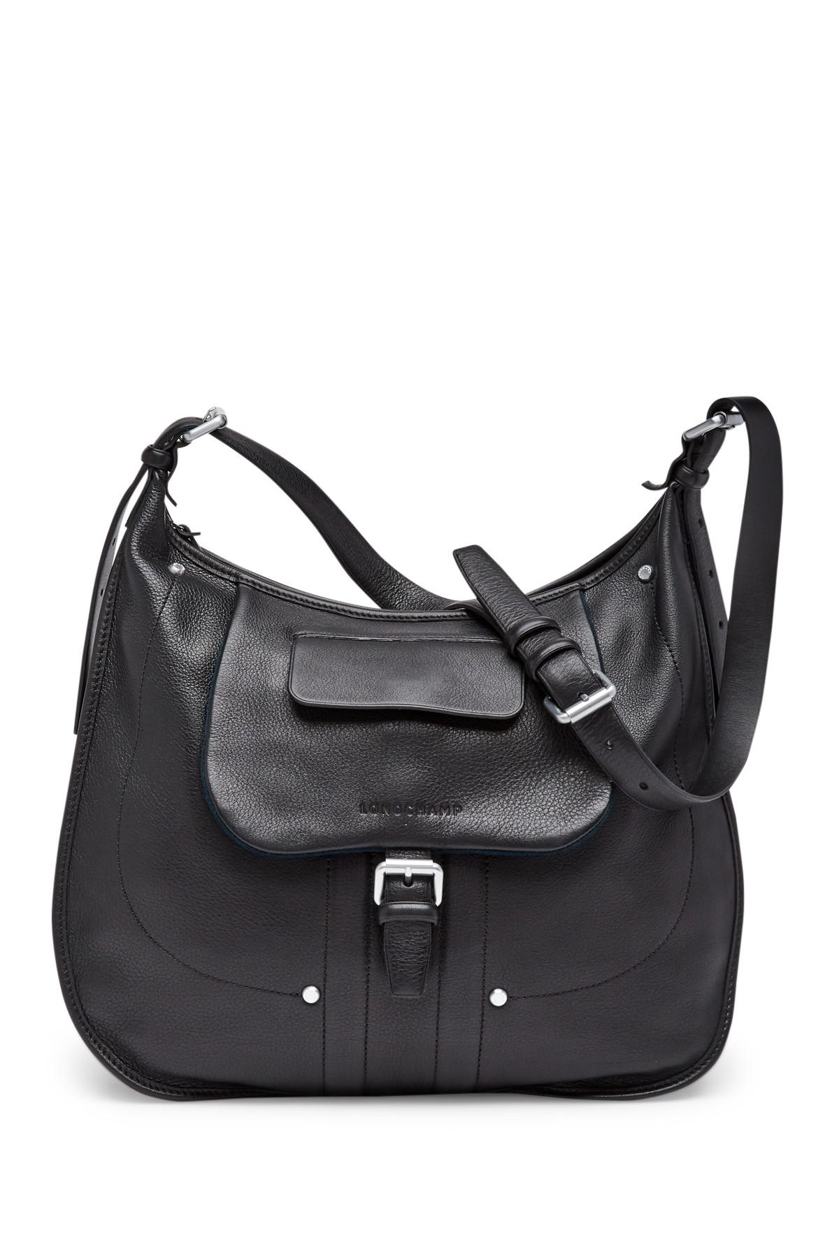 ecc82f64bc1 Longchamp Balzane Leather Hobo Bag in Black - Lyst