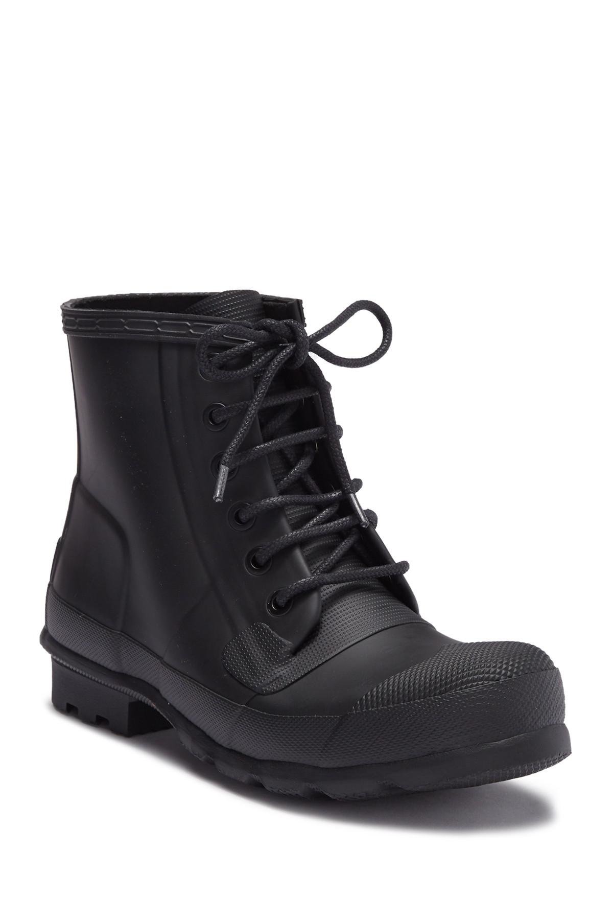 Hunter Rubber Original Lace Up Rain Boot In Black For Men