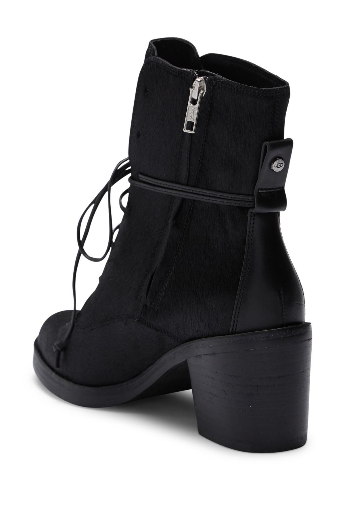 2a65bd0bc94 Ugg Black Oriana Exotic Genuine Calf Hair Block Heel Boot