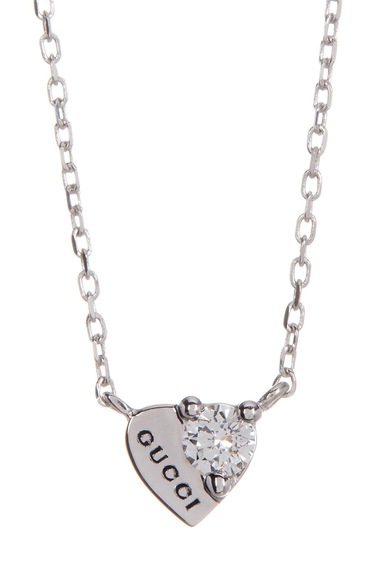 45987a077 Gucci 18k White Gold Trademark Diamond Heart Necklace - Lyst