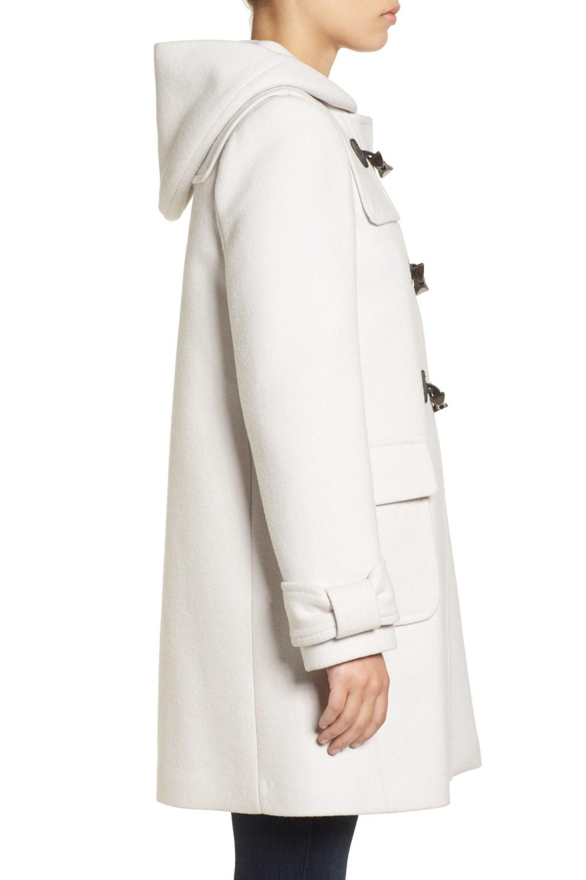 Kate Spade Hooded Wool Blend Walking Coat Lyst