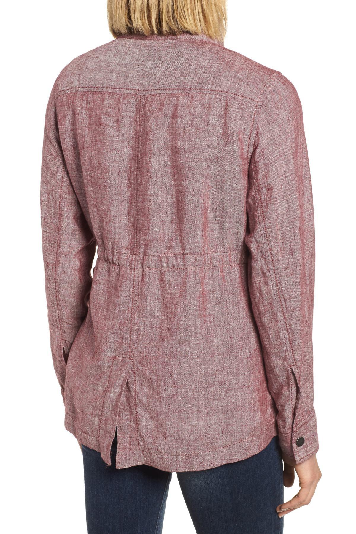 a067ad87f61 Caslon - Red Cinch Waist Linen Utility Jacket (petite) - Lyst. View  fullscreen
