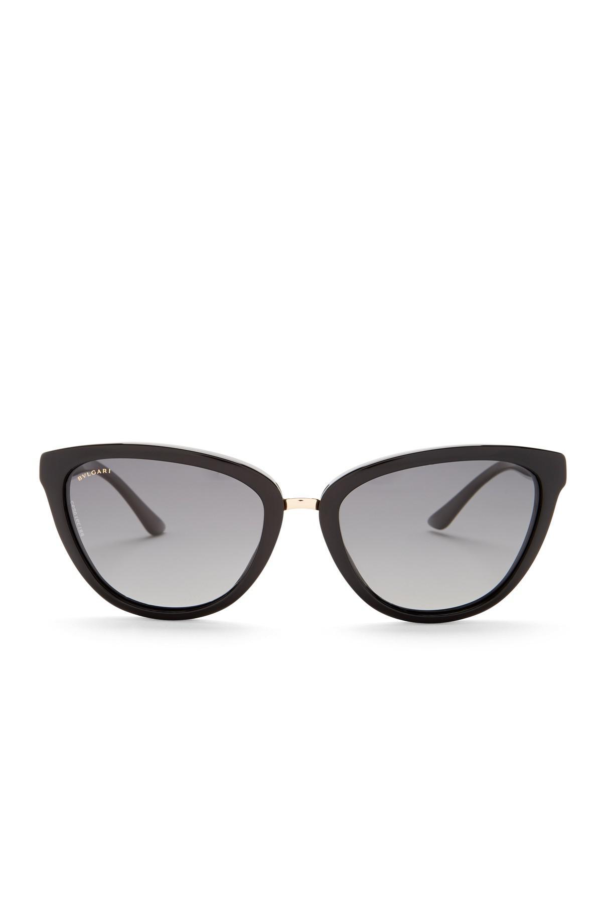 8abff48838bf7 Lyst - Bvlgari Women s Cat Eye Sunglasses in Black