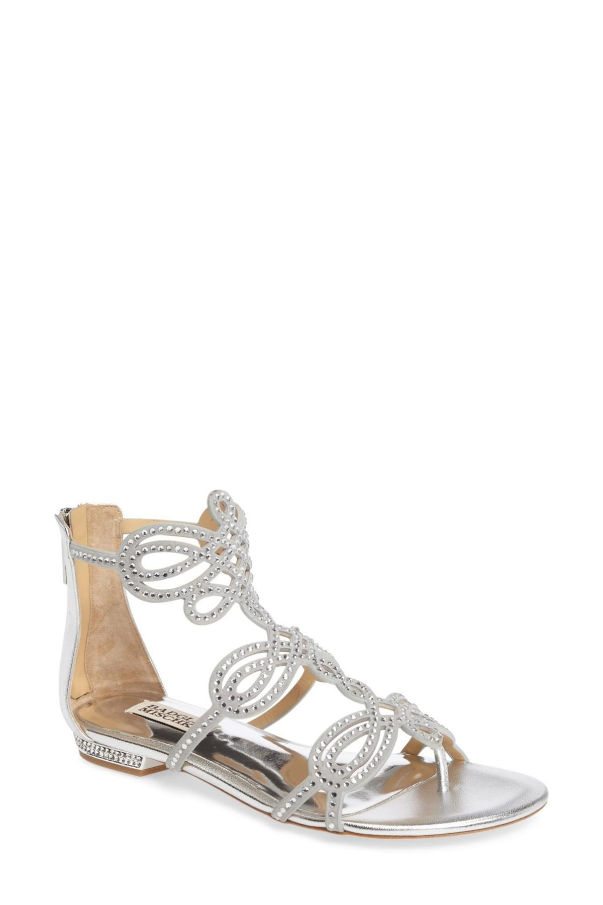 0fadf843c1d23e Lyst - Badgley Mischka Tempe Embellished Suede Sandal in Metallic