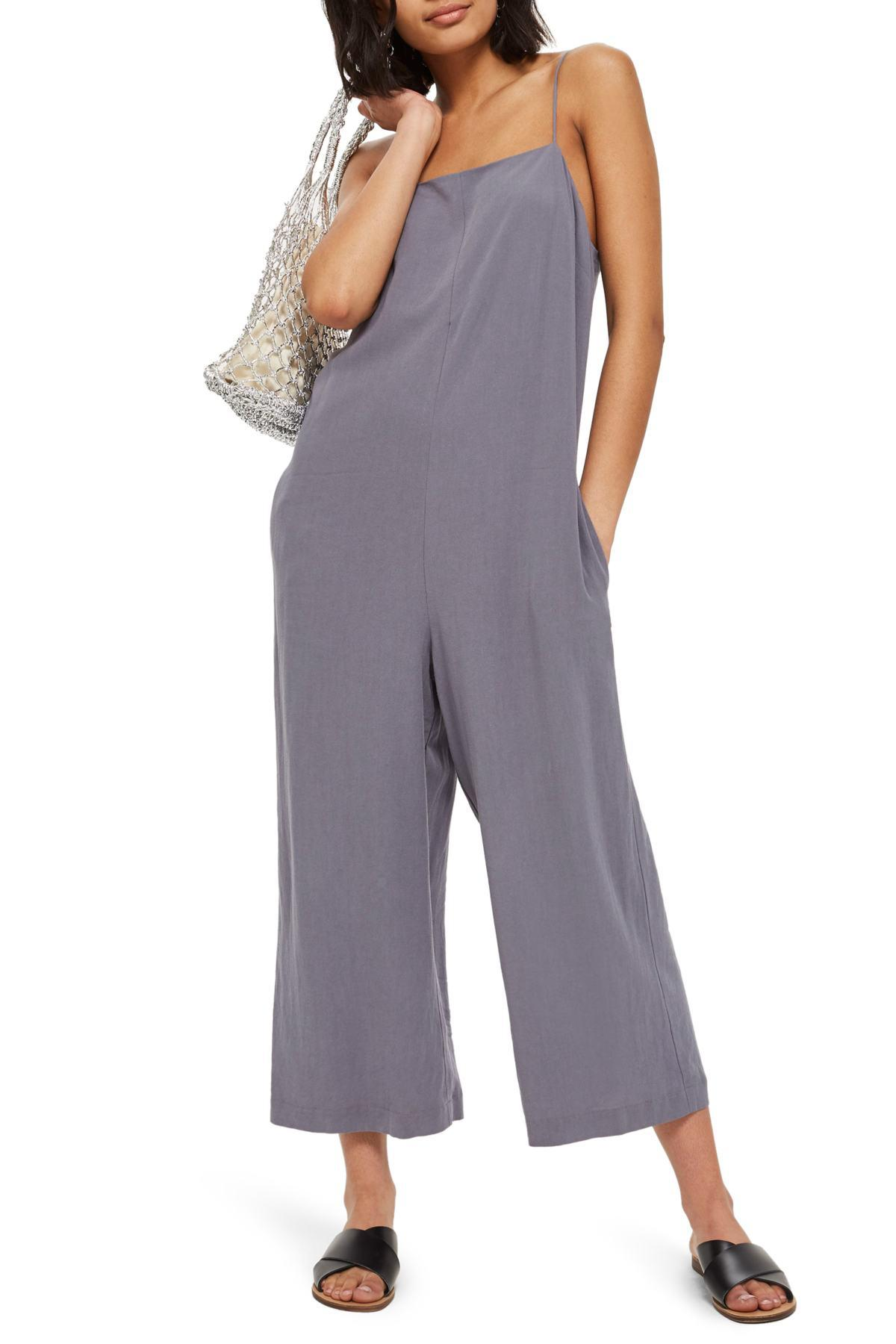 71ac55f03ce9 Lyst - TOPSHOP Molly Square Neck Slouch Jumpsuit in Blue