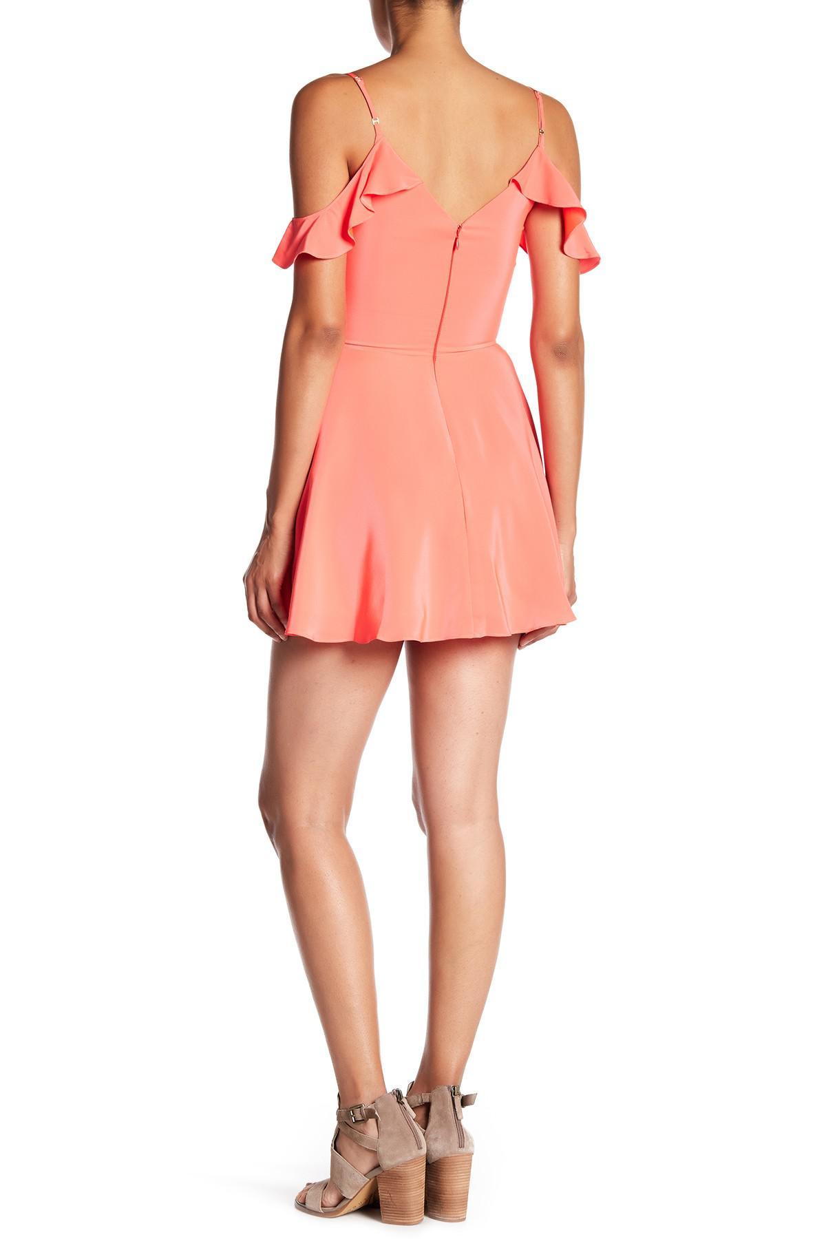 Amanda uprichard Tate Cold Shoulder Silk Dress in Pink | Lyst