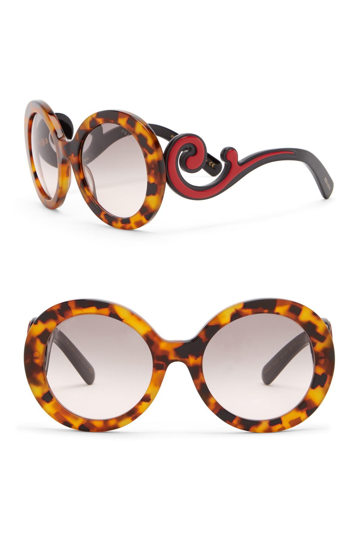 405ae58936dc Prada Women's 55mm Round Catwalk Minimal Baroque Sunglasses in Brown ...