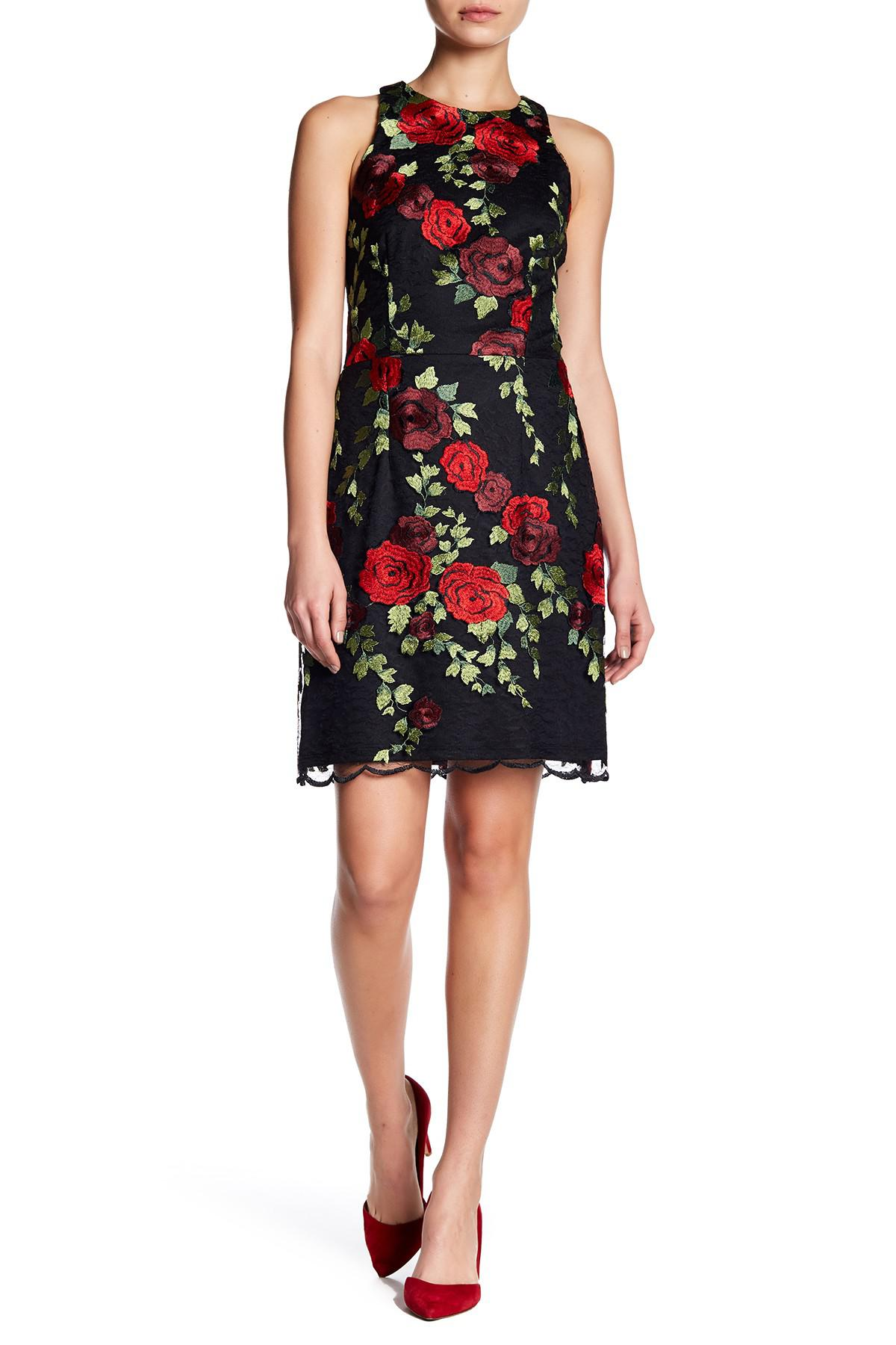 Lyst Betsey Johnson Floral Embroidery Lace Overlay Dress