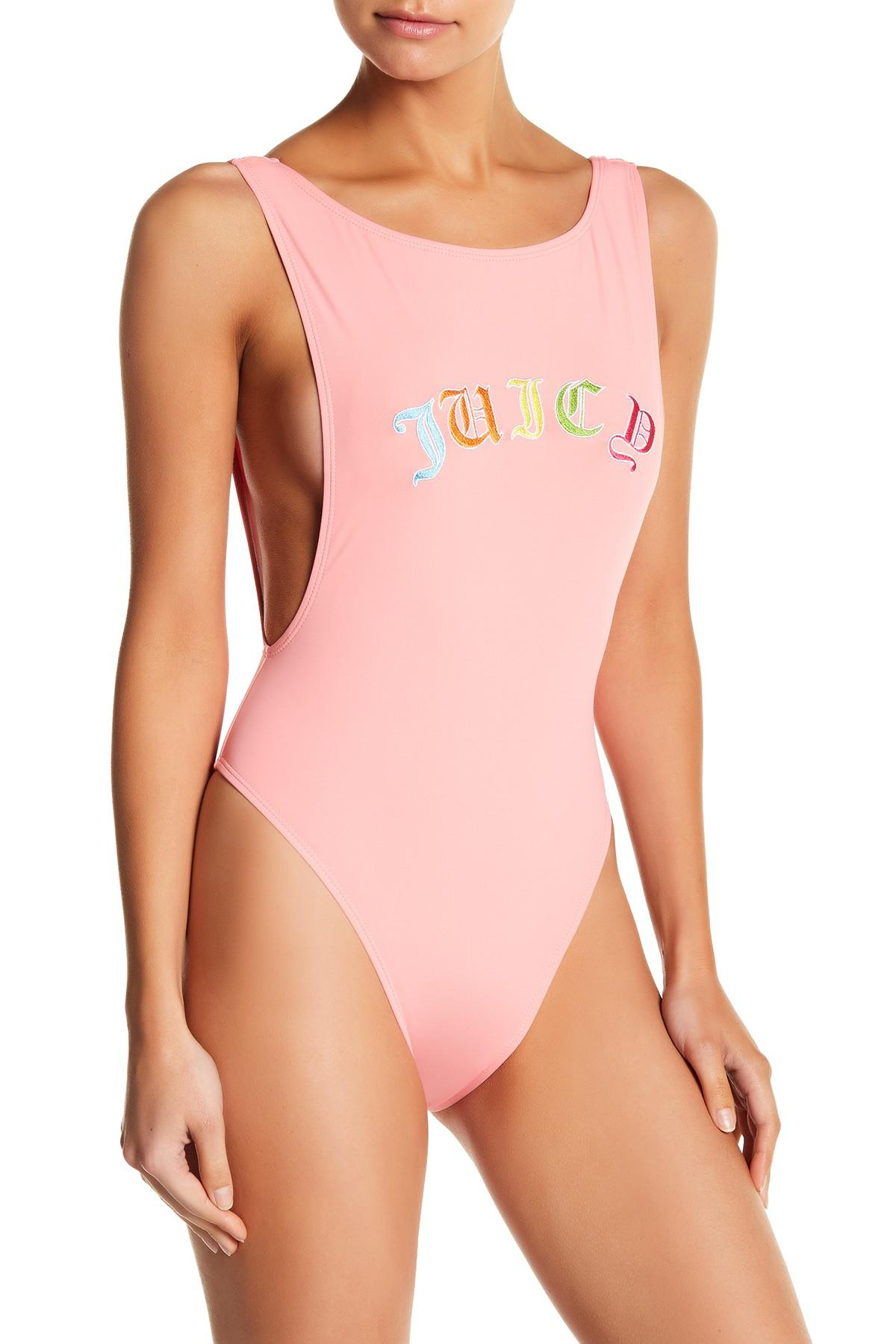 fac471b6cdc4c Juicy Couture Embroidered Juicy One-piece Swimsuit in Pink - Lyst