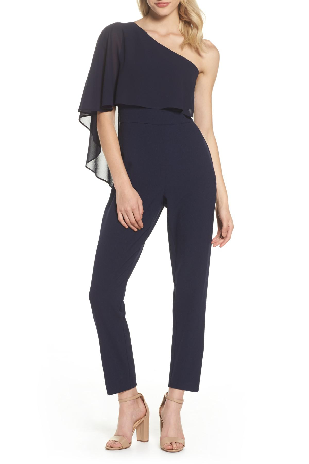 Lyst Vince Camuto Cape Overlay One Shoulder Jumpsuit In Blue