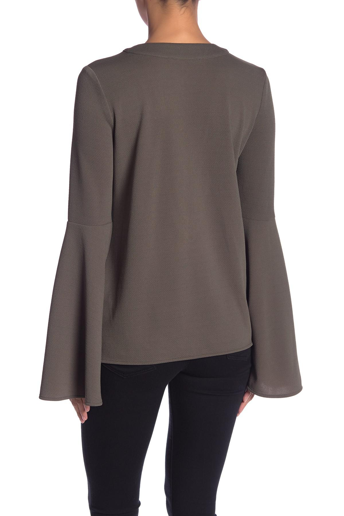 Lyst Endless Rose Long Bell Sleeve Lace Up Blouse In Green